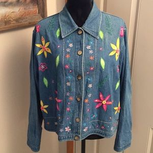 Vintage 90's Boho Flower 🌸 Power Jean Jacket